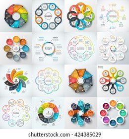 Big set of vector octagons, circles and other elements for infographic. Template for cycle diagram, graph. Business concept with 8 options, parts, steps.