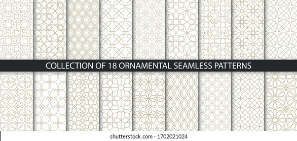 Big set of vector ornamental seamless patterns. Collection of geometric patterns in the oriental style. Patterns added to the swatch panel.