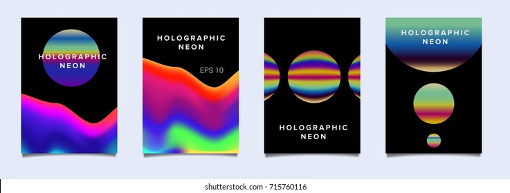 Big set of vector posters with fluid holographic neon stains in retrowave/ vaporwave nostalgic style.