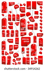 big set of vector price tags