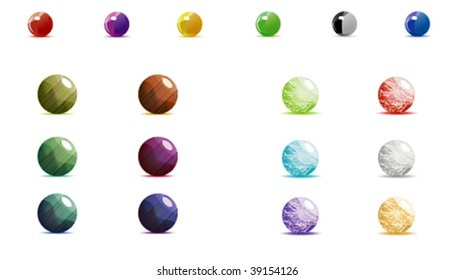Big set of vector shiny and textured orbs.