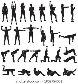 Big set of vector silhouette of sportive woman working out with dumbbells. Girl doing fitness exercises with weights for muscles of arms and legs. Fintess icons.
