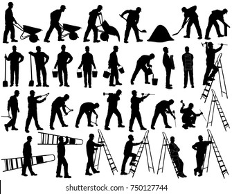 Big set of vector silhouettes of builder men in helmet isolated on white background. Icons of man working with  instruments: ladder, pliers, bucket, bricks, burrow, hammer. Worker shapes.