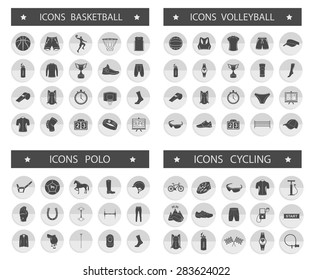 Big set of vector silhouettes and icons of equipment, clothes and players of volleyball, basketball, polo and cycling. Symbols of people, animals, vehicles - sports equipment.