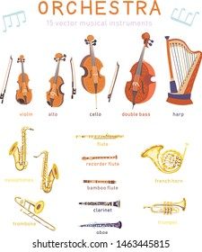 Big set of vector strings and wind classical musical instruments. Violin, alto, cello, double bass, harp, saxophones, flutes, trombone, french horn, trumpet, clarinet, oboe. Warm and golden colors.