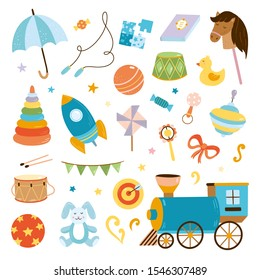 Big set with vector toys illustrations. Kids elements and objects on white background. Cute collection for boys and girls