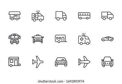 Big set of vehicles line icons. Vector illustration isolated on a white background. Premium quality symbols. Stroke vector icons for concept or web graphics. Simple thin line signs.