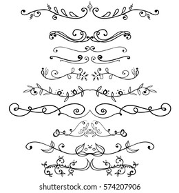 Big set of vintage border elements. Vector decoration collection. Hand drawn flowers, leaves and page decor.