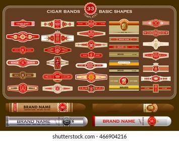 A big set of vintage cigar bands templates. Vector elements