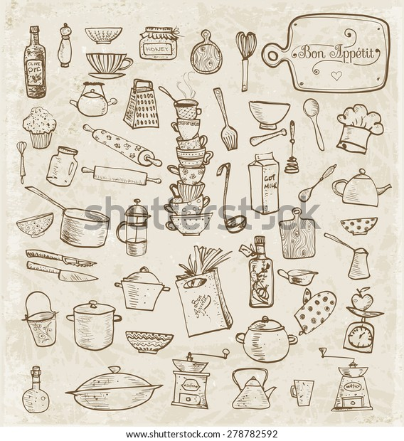 Big Set Vintage Kitchen Utensils Handdrawn Stock Vector Royalty