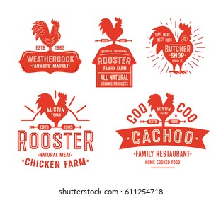 Big Set of Vintage Rooster Badges, Emblems and Logos. Red Cock Vector Illustration. Great for Farm Restaurant Food Agriculture and others Businesses.