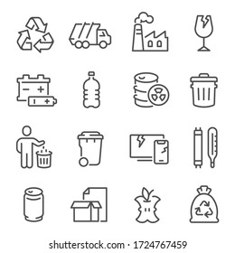 Big set of waste sorting, recycling thin line icons isolated on white. Garbage collection outline pictograms bundle, logos. Plastic, glass, food, mercury trash vector elements for infographic, web.