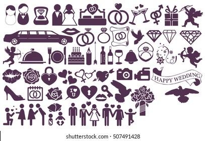 Big set wedding icons and sign