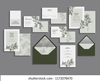 Big set of wedding invitation card. RSVP, Thank you, save the date and menu card. Elegant modern design. Vector illustrations.