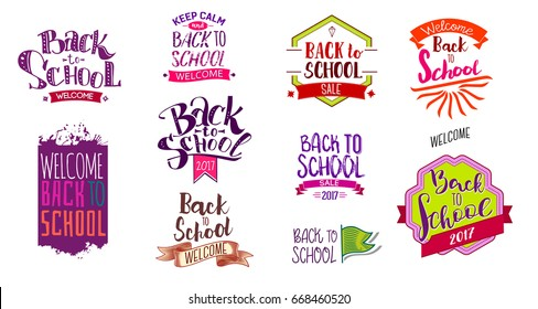 Big set of Welcome back to school labels. School Background. Sale tag. Vector illustration. Hand drawn lettering badges. Typography emblem