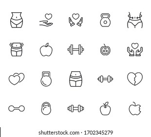 Big set of wellness line icons. Vector illustration isolated on a white background. Premium quality symbols. Stroke vector icons for concept or web graphics. Simple thin line signs.