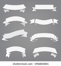 Big Set White Ribbon Grey Background With Gradient Mesh, Vector Illustration