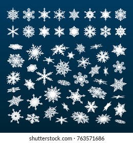 Big set of white snowflakes falling in different perspective, angles,directions isolated on dark blue night sky background. Christmas, New Year, winter snow collection. Vector illustration.