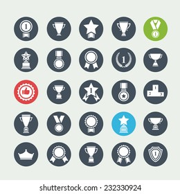 Big set of  white vector award success and victory icons with trophies stars cups ribbons rosettes medals medallions wreath and a podium on a color circle