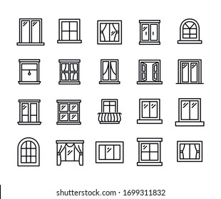 Big set of window line icons. Vector illustration isolated on a white background. Premium quality symbols. Stroke vector icons for concept or web graphics. Simple thin line signs.