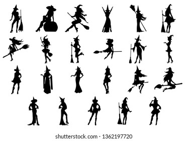 Big set of witches for halloween