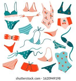 Big set with woman beach clothes. Hand drawn summer collection:  swimsuit, bikini, monokini. Fashion colorful hand drawn accessories. Stylish swimwear design. Cute flat vector illustration