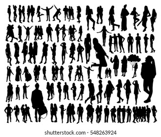 Big set of Woman and man Silhouettes