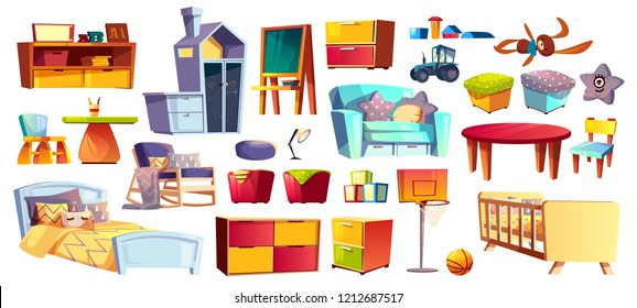 Big set of wooden furniture, soft toys and accessories for children room, bedroom cartoon vector illustrations isolated on white background. Kindergarten or nursery interior design elements collection