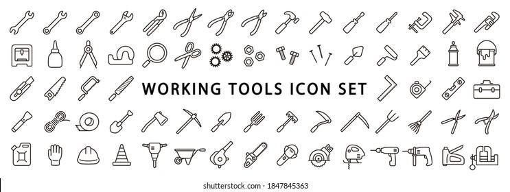 Big Set of Working Tools Icon (Thin Line Version)