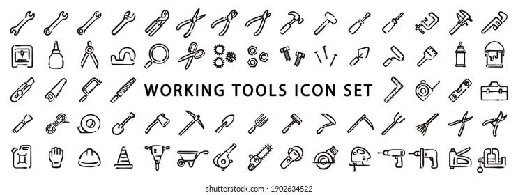 Big Set of Working Tools Icon (Hand draw version)