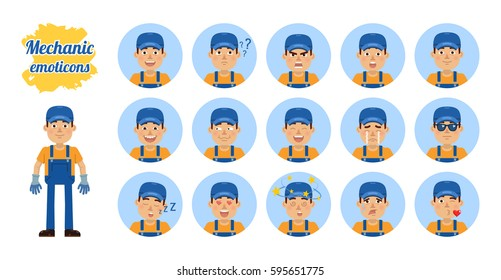 Big set of workman emoticons. Repairman emojis showing different facial expressions. Happy, sad, smile, laugh, surprised, serious, angry, dazed, sleepy and other emotions. Simple vector illustration