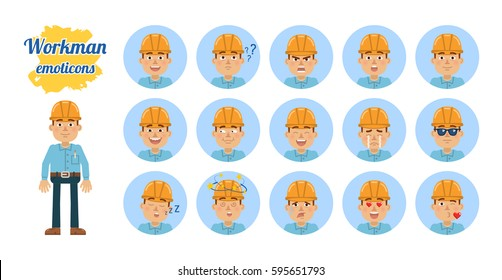 Big set of workman emoticons. Worker emojis showing different facial expressions. Happy, sad, smile, laugh, surprised, serious, angry, dazed, sleepy and other emotions. Simple vector illustration