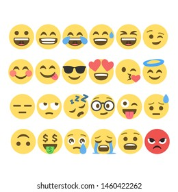 Big Set of yellow cartoon bubble emoticons for social media. Chat comment reactions, icon template face, character message.