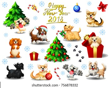 Big set of yellow, orange, red and brown lovely dogs of different breeds and New Year 2018 attributes and Lettering. A vector full-color illustration in cartoon style, separately on a white background
