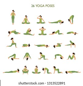 Big set of Yoga Poses vector illusttation. Woman doing yoga exercises set. Woman yoga silhouette posture. - Vector.