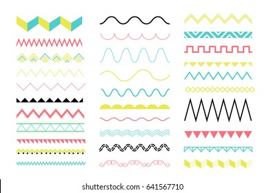 big set of zig zag and wave seamless borders. vector design elements