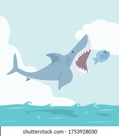 Big Shark eat small fish cartoon