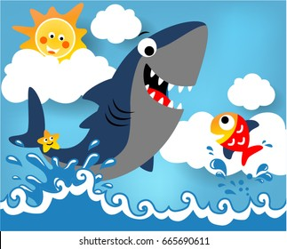 Big shark and little fish, vector cartoon illustration