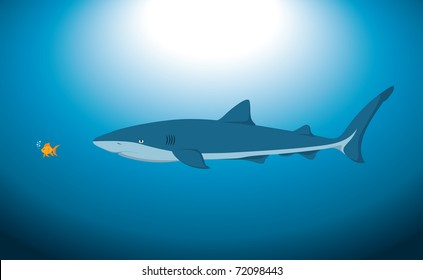A big shark and a small fish underwater, in a vector illustration.