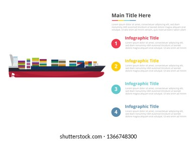 big ship container infographics template with 4 points of free space text description - vector illustration