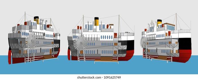 Big Ship House Model, Vector & Illustration