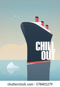 Big ship sailing on sea with iceberg in its way. Symbol of relax and calm holiday. Eps10 vector illustration.