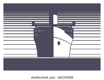big ship sailing simple illustration