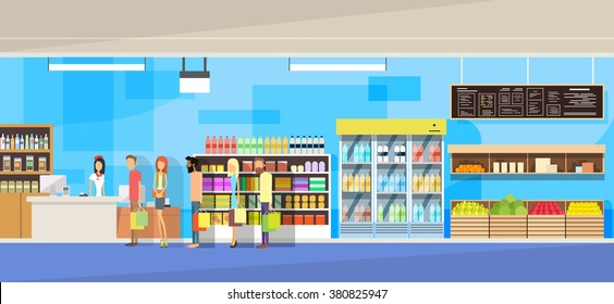 Big Shop Super Market Shopping Mall Interior People Customers Stand In Line Sales Woman Cash Desk Vector Illustration