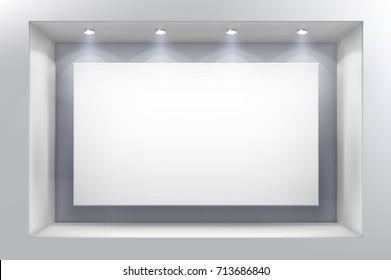 Big shop window. Vector illustration.