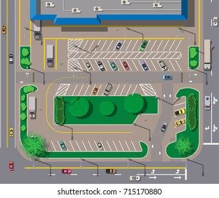 Big shopping center or mall and parking for cars. City parking lot with different cars. Tree area. Parking zone top view with various vehicles. City life. Vector illustration in flat style