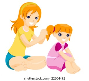 Big sister helping younger sister with her Hair - Vector