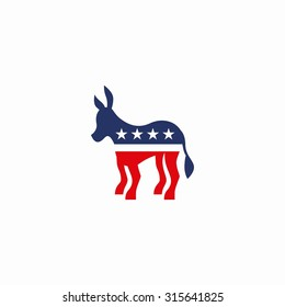 Big Size Democratic donkey in white background. Vector illustration
