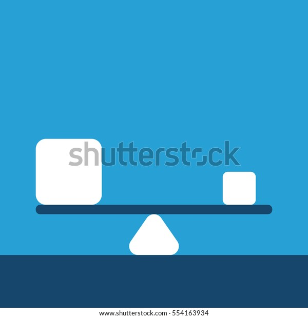 Big and small abstract cubes in equilibrium on scales on blue background. Balance, harmony and time management concept. EPS 8 vector illustration, no transparency