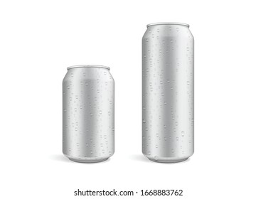 big and small beer cans with water drops isolated on white background vector mock up